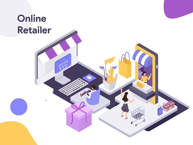 Ilustração isométrica de varejista on-line