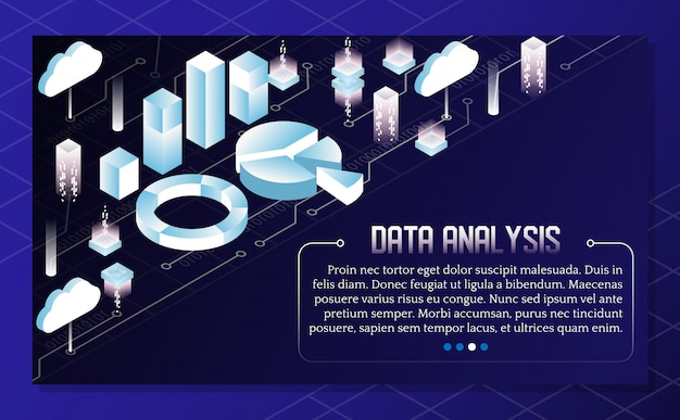 Ilustração isométrica de vetor de análise de dados