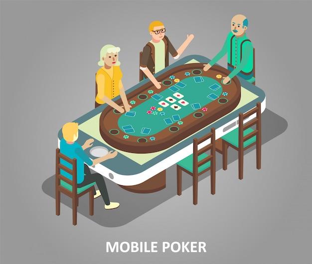 Ilustração isométrica de vetor de conceito de pôquer móvel