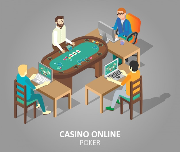 Ilustração isométrica de vetor de pôquer de cassino online
