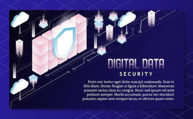 Ilustração isométrica de vetor de segurança de dados digitais