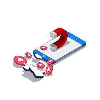 Ilustração isométrica de vetor sobre o tópico de mídia social, com o ímã em um smartphone, obtendo gostos
