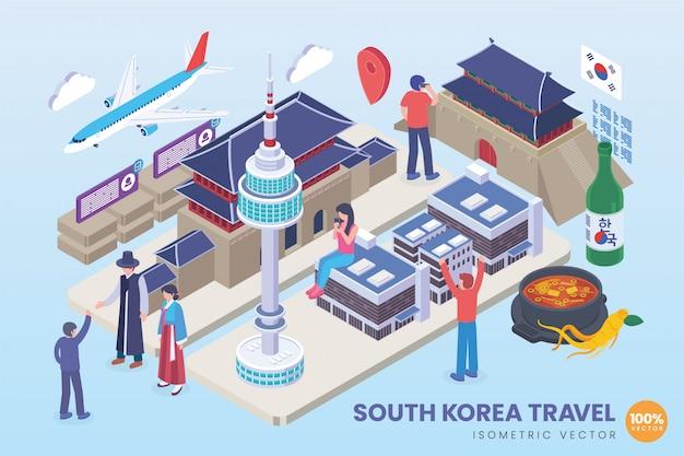 Ilustração isométrica de viagem da coreia do sul