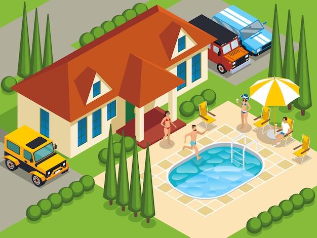 Ilustração isométrica de villa de pessoas ricas