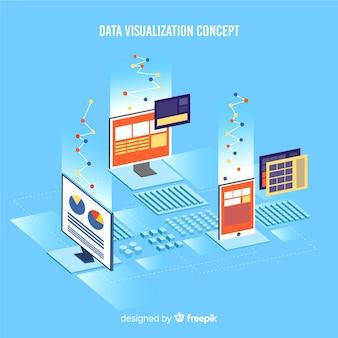 Ilustração isométrica de visualização de dados