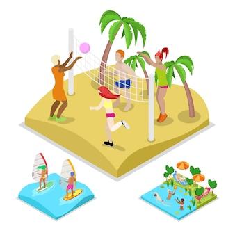 Ilustração isométrica de vôlei de praia ao ar livre