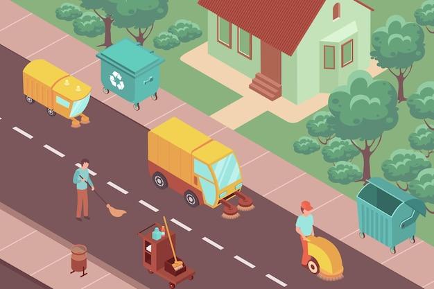 Ilustração isométrica de voluntários limpando e varrendo as ruas da cidade