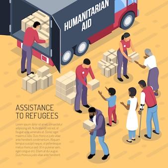 Ilustração isométrica de voluntários