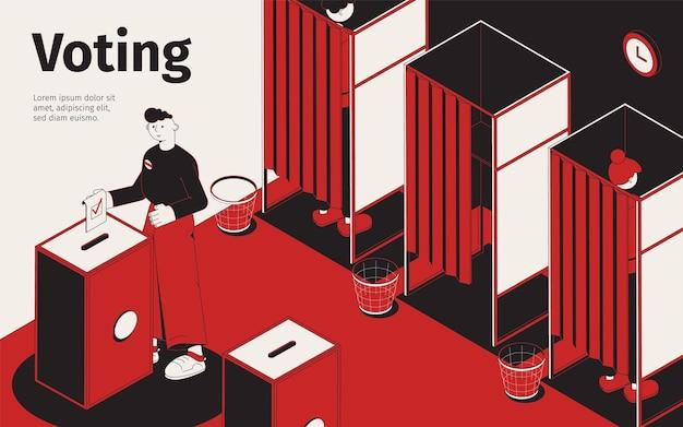 Ilustração isométrica de votação com fileira de cabines para preencher boletins de voto