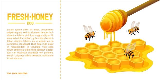 Ilustração isométrica, design de marca de modelo de mel e abelha