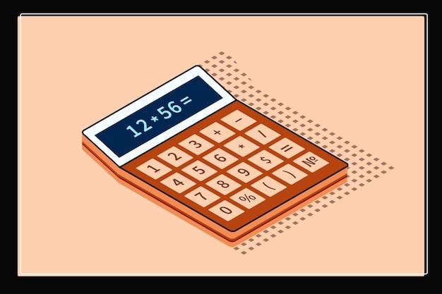 Ilustração isométrica detalhada do negócio da calculadora.