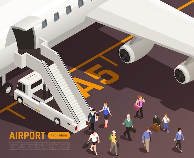 Ilustração isométrica do aeroporto com personagens de pessoas passando pelo caminhão da escada aérea com texto e botão editáveis