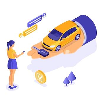 Ilustração isométrica do aluguel de um carro