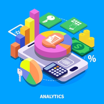 Ilustração isométrica do analytics