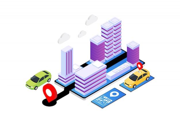 Ilustração isométrica do aplicativo gps moderno, serviço de táxi on-line