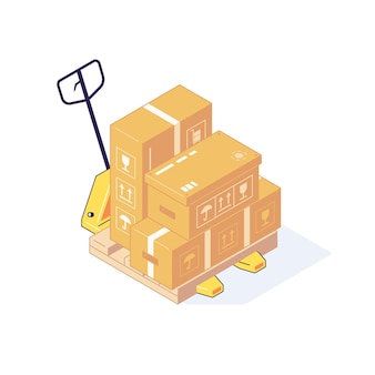 Ilustração isométrica do armazém caixas paletes mercadorias