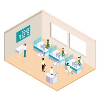 Ilustração isométrica do banco com trabalhadores
