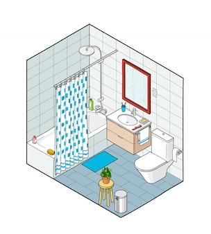 Ilustração isométrica do banheiro. vista interior desenhada de mão.