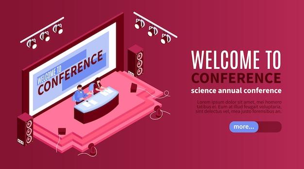 Ilustração isométrica do banner horizontal da sala de conferências