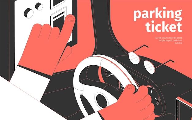 Ilustração isométrica do bilhete de estacionamento