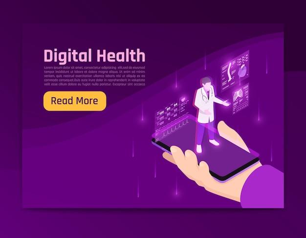 Ilustração isométrica do brilho da saúde digital da telemedicina