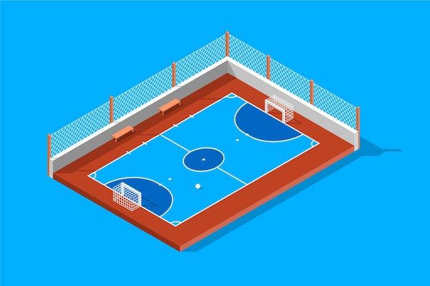 Ilustração isométrica do campo de futsal