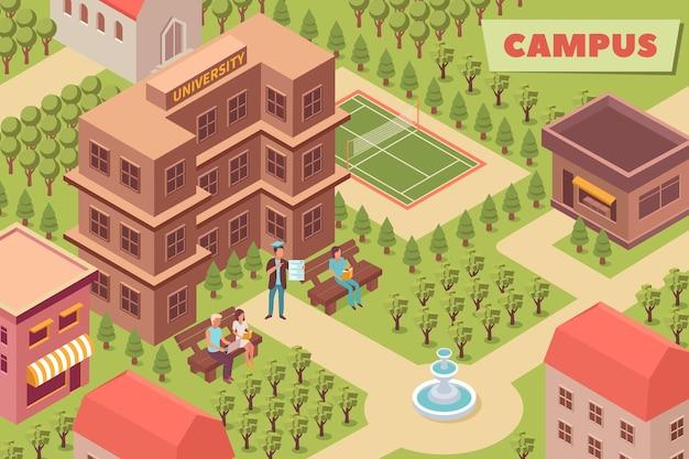 Ilustração isométrica do campus com prédio da universidade, área de parque e campo esportivo ao ar livre