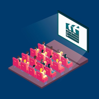 Ilustração isométrica do cinema com espectadores