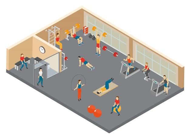 Ilustração isométrica do clube de fitness