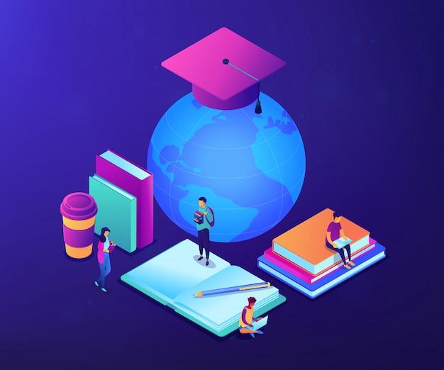 Ilustração isométrica do conceito 3d da educação on-line global.