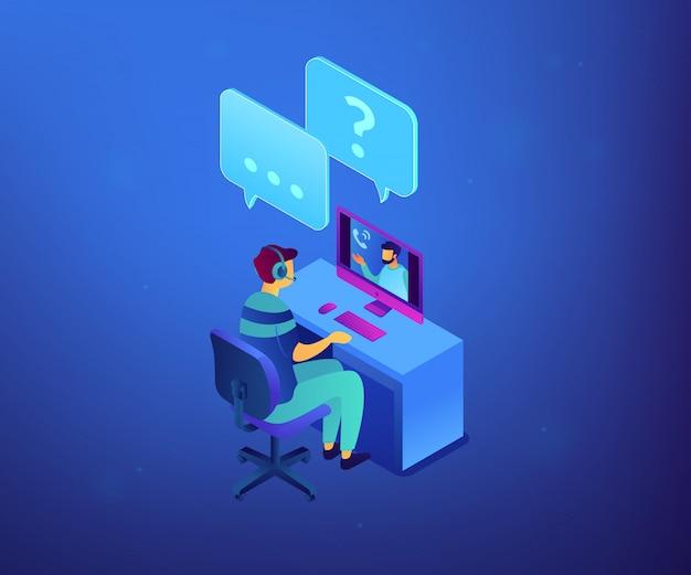 Ilustração isométrica do conceito 3d da entrevista de emprego on-line.