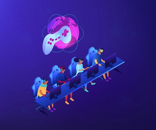 Ilustração isométrica do conceito 3d da equipe do cybersport.