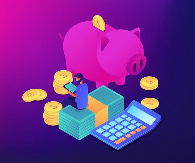 Ilustração isométrica do conceito 3d do app de controle de orçamento.