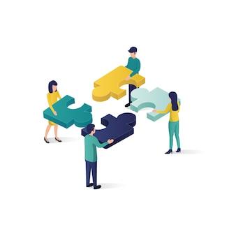 Ilustração isométrica do conceito da parceria da cooperação da ilustração do conceito dos trabalhos de equipa no estilo isométrico.