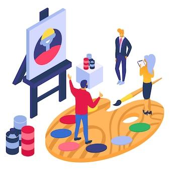 Ilustração isométrica do conceito de artista. pintor de desenho no cavalete, homem mulher personagem olhar coleção criativa