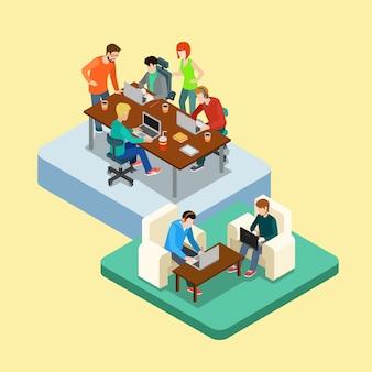 Ilustração isométrica do conceito de coworking teamwork. grupos de trabalho em grupo de pessoas em dois locais.