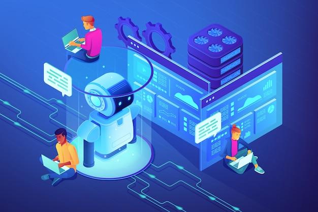 Ilustração isométrica do conceito de desenvolvedor de robótica.