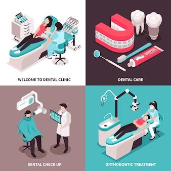 Ilustração isométrica do conceito de design de dentista