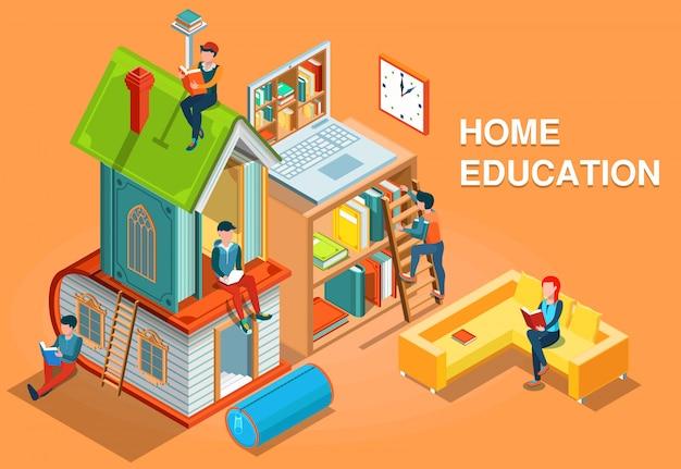 Ilustração isométrica do conceito de educação em casa