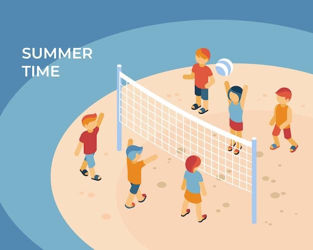 Ilustração isométrica do conceito de esporte de horário de verão