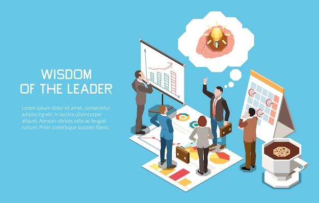 Ilustração isométrica do conceito de liderança com bolhas de pensamento do grupo de trabalhadores, painéis de planejamento e texto editável
