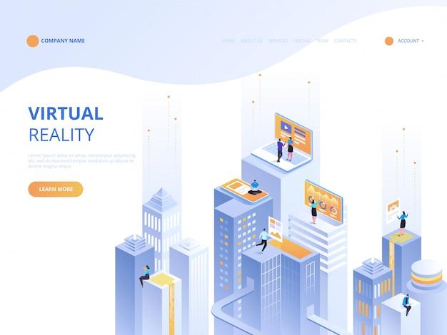 Ilustração isométrica do conceito de realidade virtual