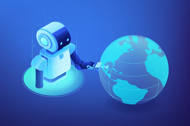 Ilustração isométrica do conceito de rede de robótica.
