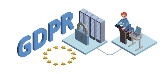 Ilustração isométrica do conceito gdpr. regulamento geral de proteção de dados. proteção de dados pessoais. , em fundo branco.