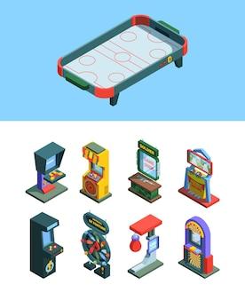 Ilustração isométrica do conjunto de máquinas de jogos de fliperama