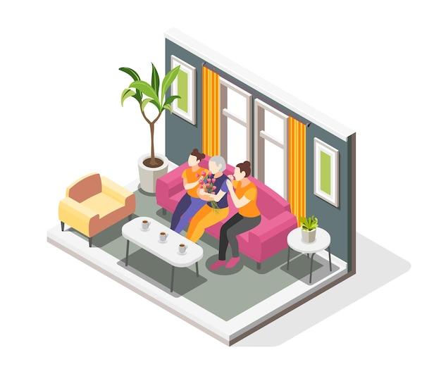 Ilustração isométrica do dia internacional da mulher com o interior da casa e mulheres de diferentes idades sentadas no sofá.
