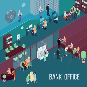 Ilustração isométrica do escritório do banco