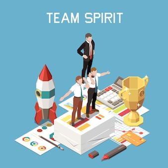 Ilustração isométrica do espírito de equipe