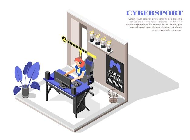 Ilustração isométrica do esporte cibernético