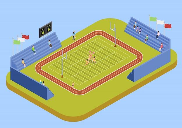 Ilustração isométrica do estádio complexo esporte universitário